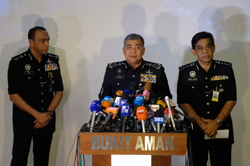 Malaysia's Royal Police Chief Khalid Abu Bakar (center) speaks about the apparent assassination of Kim Jong-nam, the half-brother of the North Korean leader, at the police headquarters in Kuala Lumpur. Photo: Reuters