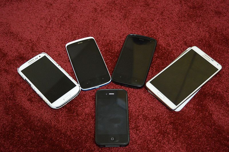 Some of the stolen smartphones recovered by police. Photo: Wikimedia Commons