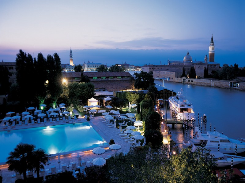A view of the pool just after sunset. Photo: Belmond Hotel Cipriani