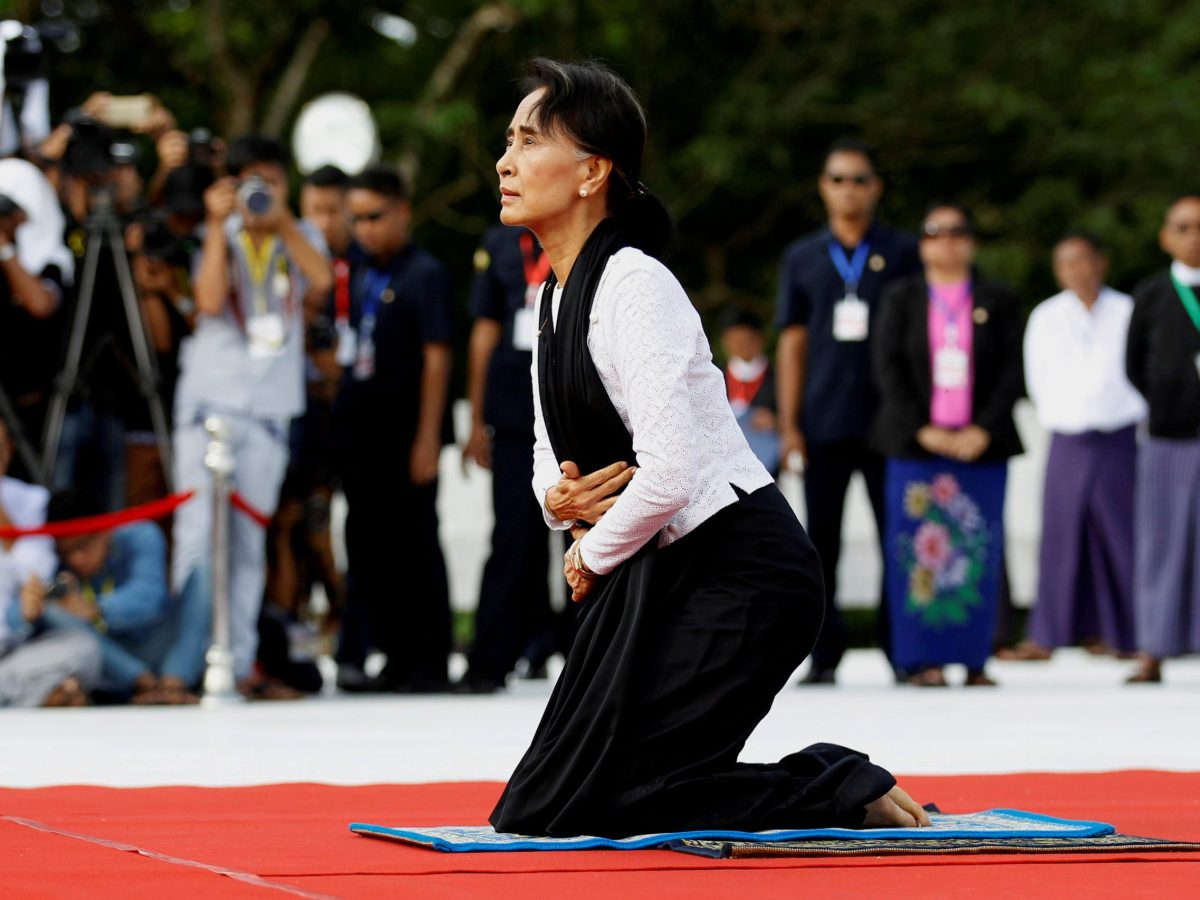 Myanmar State Counselor Aung San Suu Kyi attends an event marking the 69th anniversary of Martyrs' Day at the Martyrs' Mausoleum dedicated to the fallen independence heroes in Yangon July 19, 2016.  Photo: Reuters / Soe Zeya Tun