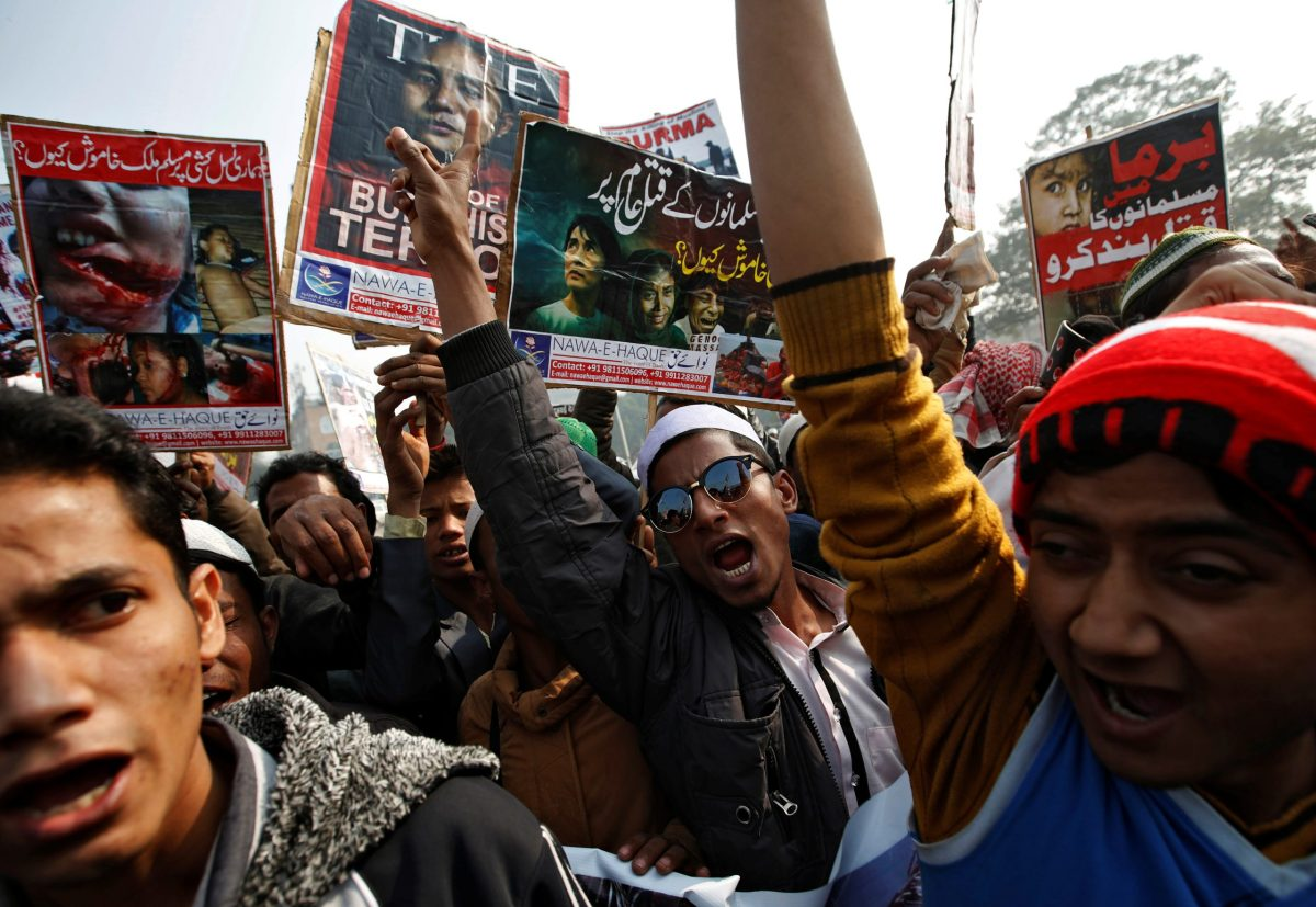 Rohingya Muslim refugees shout slogans during a protest against what organisers say is the crackdown on ethnic Rohingya's in Myanmar, in New Delhi, India, December 19, 2016. Photo: Reuters / Adnan Abidi