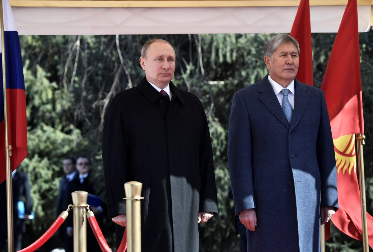 Russian President Vladimir Putin and his Kyrgyz counterpart Almazbek Atambayev at the Ala-Archa State Residence in Bishkek. Photo: Sputnik/Alexei Nikolsky/Kremlin via Reuters