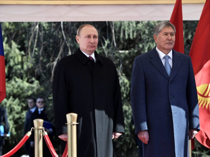 Russian President Vladimir Putin and his Kyrgyz counterpart Almazbek Atambayev at the Ala-Archa State Residence in Bishkek. Photo: Sputnik/Alexei Nikolsky/Kremlin via Reuters