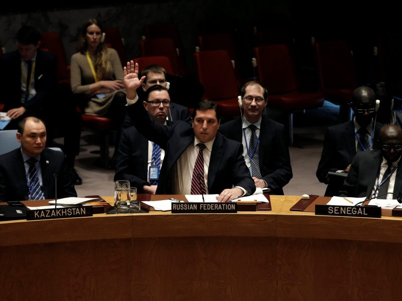 Russian Deputy Ambassador to the UN Vladimir Safronkov votes against a United Nations Security Council resolution to ban the supply of helicopters to the Syrian government. Photo:  Reuters/Mike Segar