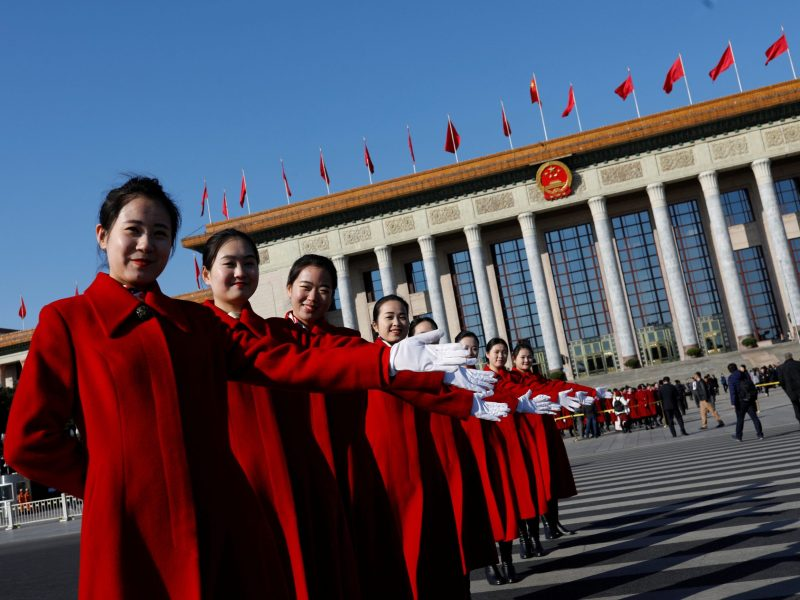 Blue skies welcome visitors to Tiananmen Square as the opening session of the NPC got under way in Beijing. The government announced ambitious targets for reducing pollution levels in the country. Photo:  Reuters