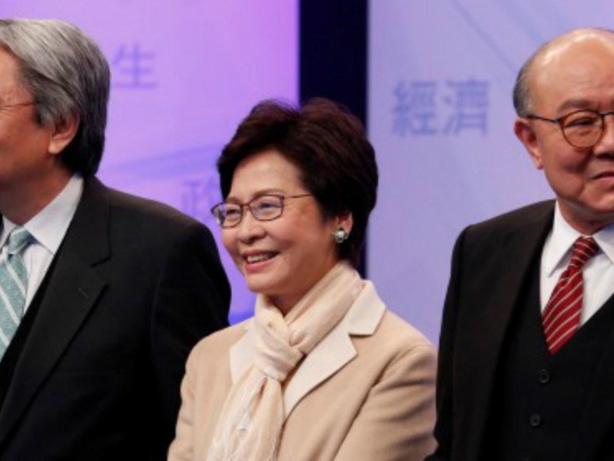 Chief Executive candidates John Tsang  Chun-wah (left), Carrie Lam Cheng Yuet-ngor and Woo Kwok-hing. Photo: Reuters/Bobby Yip