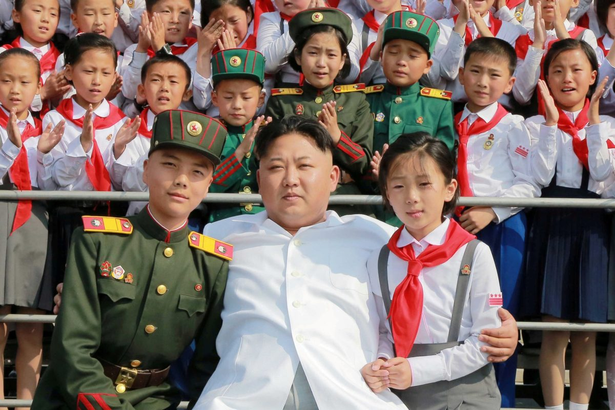 "Youngsters beside North Korean leader Kim Jong-un as he arrives to attend ""We Are the Happiest in the World"", a performance to celebrate the 70th founding anniversary of the Korean Children's Union (KCU), in this undated image. Photo: KCNA via Reuters"