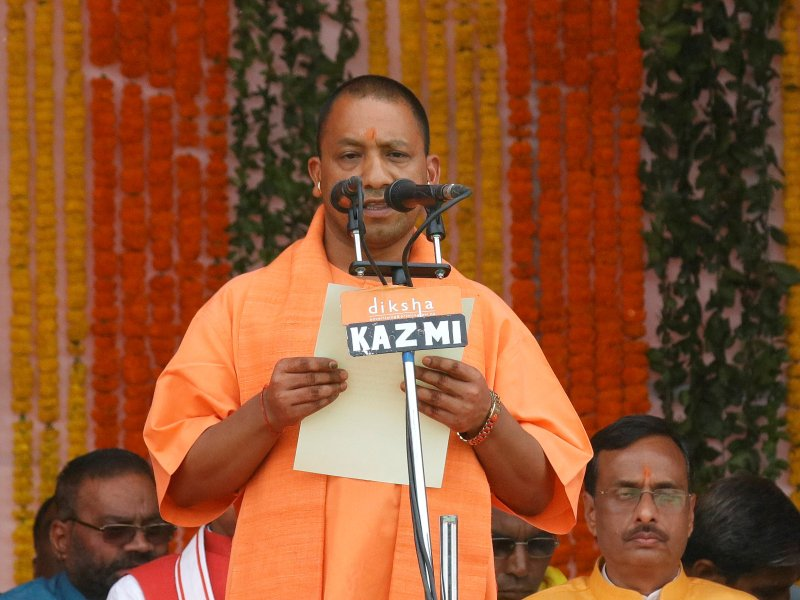 Yogi Adityanath takes his oath to become Chief Minister of India's most populous state, Uttar Pradesh, on March 19. Photo: Reuters / Pawan Kumar
