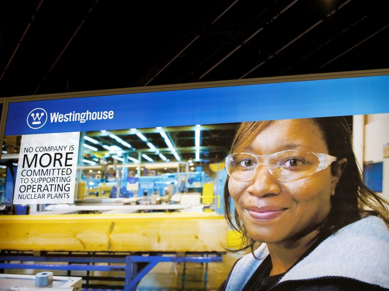 FILE PHOTO: The logo of Westinghouse is pictured at the World Nuclear Exhibition 2014 in Le Bourget, near Paris October 14, 2014. Reuters/Benoit Tessier