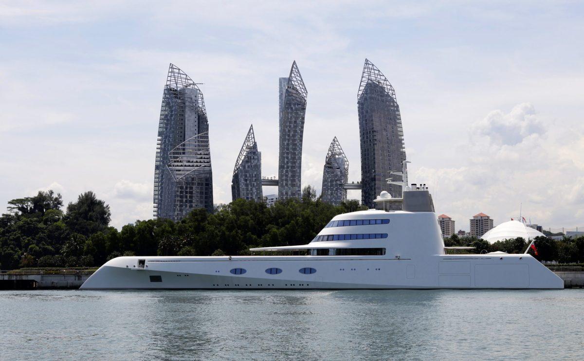 Russian billionaire Andrey Melnichenko's 394-foot (120-metres) mega-yacht. Photo: Reuters, Tim Chong