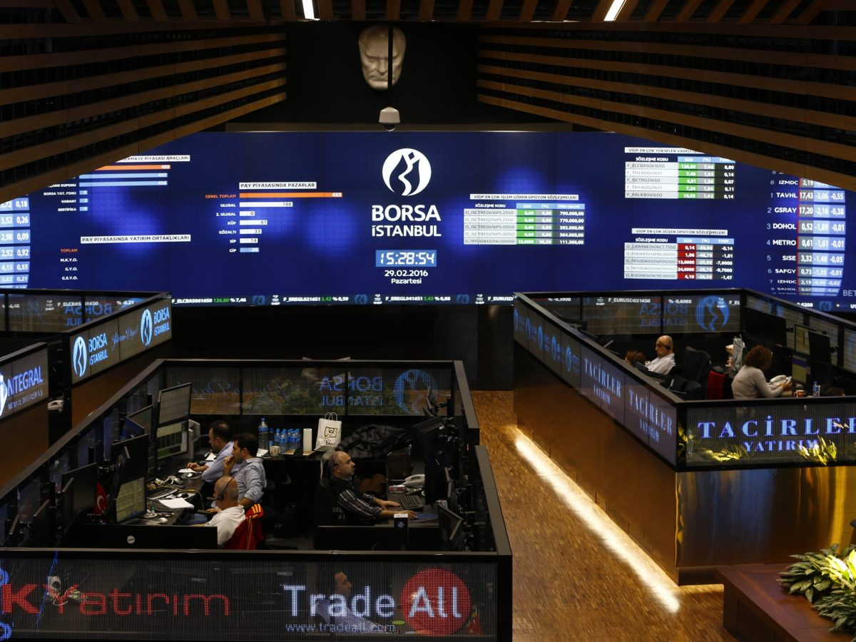 Trading floor of the Borsa Istanbul. Turkish stocks have fallen as much as 11% in dollar terms since their August peak. Photo: Reuters/Murad Sezer