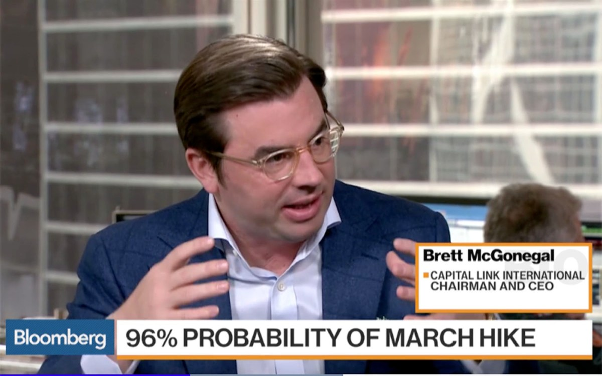 Capital Link International CEO Brett McGonegal. Photo: Bloomberg TV screen grab