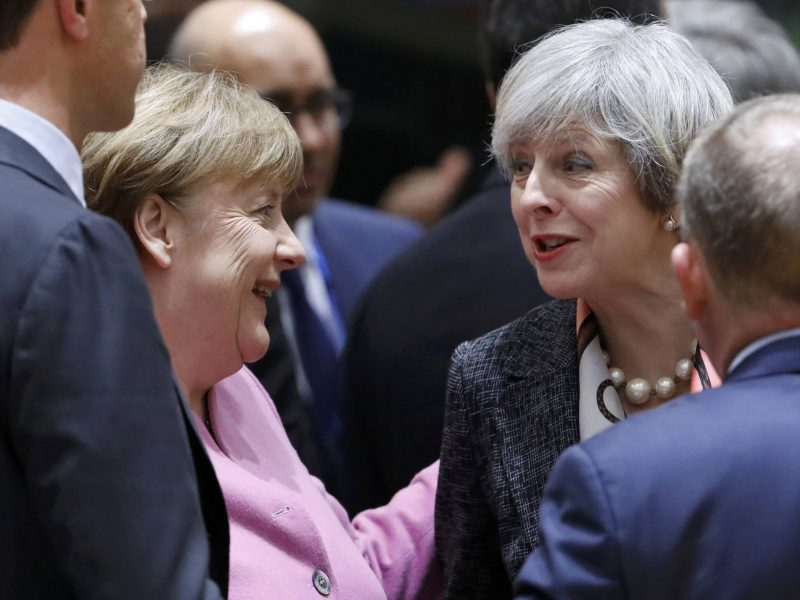 British Prime Minister Theresa May and German Chancellor Angela Merkel attend  the EU summit in Brussels on March 9, 2017.     Photo: Reuters