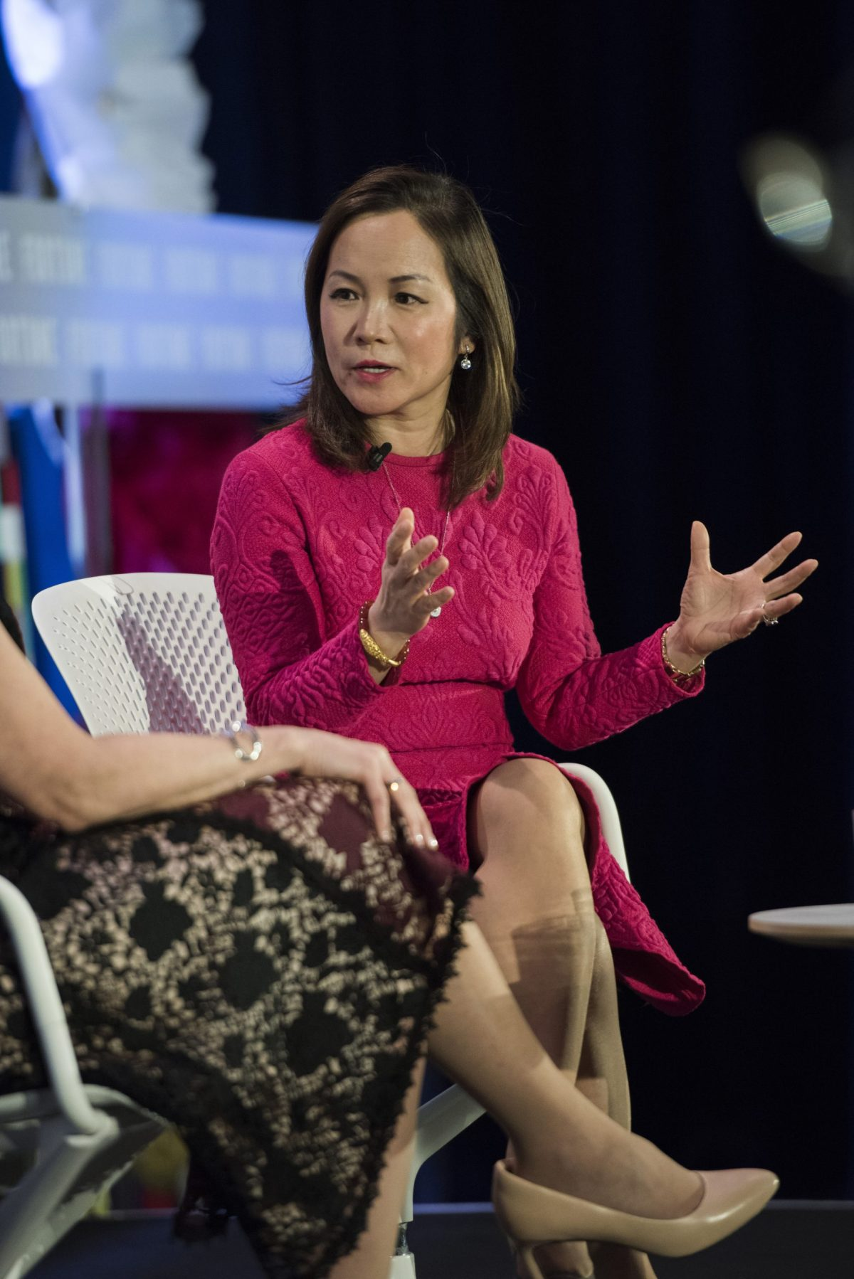 Mei Xu, the co-founder and CEO of Pacific Trade International, makes a keynote speech on Fortune Most Powerful Women summit on February 28, 2016. Photo: Fortune