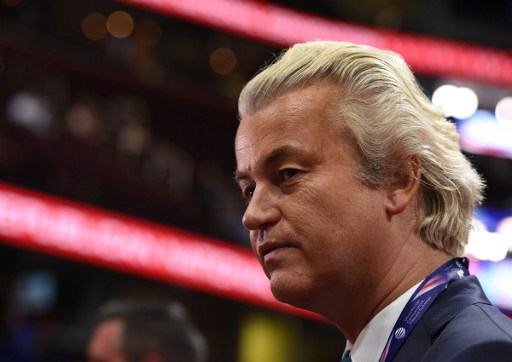 Dutch politician Geert Wilders is seen on the convention floor before the start of the second day of the US Republican National Convention. Photo: AFP, Robyn Beck