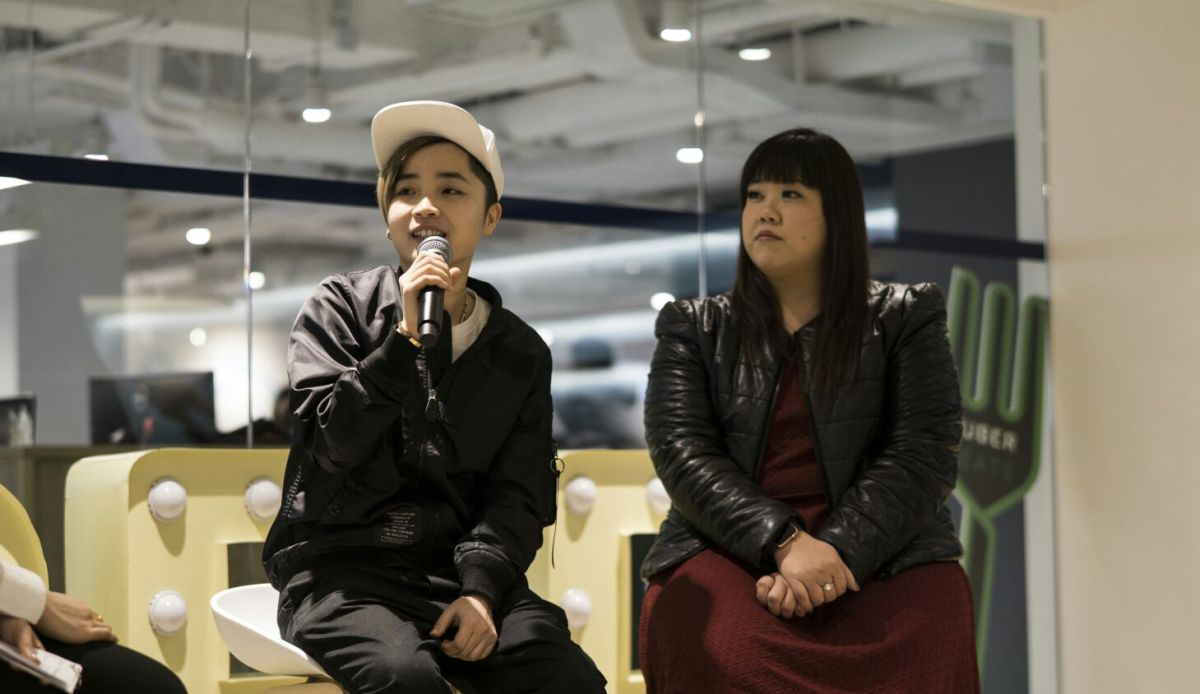 """Casey Lee (right), a mother of two, and another nicknamed """"No 1"""" share their experiences as drivers for Uber Hong Kong. Photo: Asia Times"""
