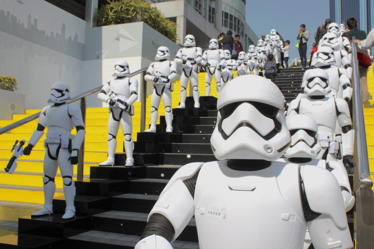 """About 100 """"Star Wars"""" stormtroopers line up at the museum entrance. Photo: Asia Times"""