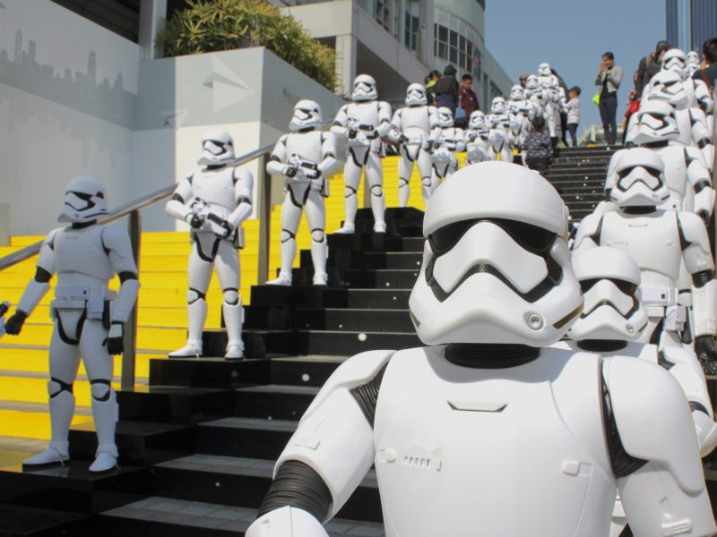 "About 100 ""Star Wars"" stormtroopers line up at the museum entrance. Photo: Asia Times"