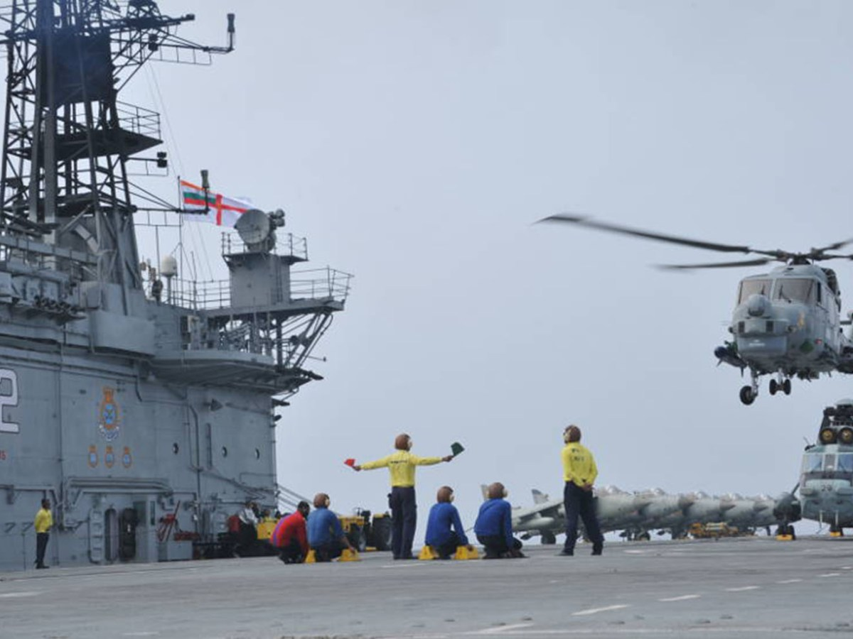 A Sea King helicopter lands on the Indian Navy's INS Viraat during exercises in the Bay of Bengal in 2016. Photo: Indian Navy