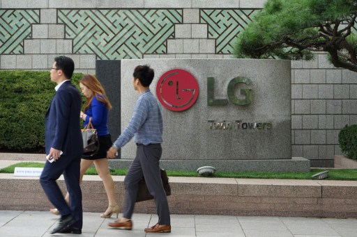 South Korea: LG company sign at LG head office (LG Twin Towers) in Seoul. Photo: AFP