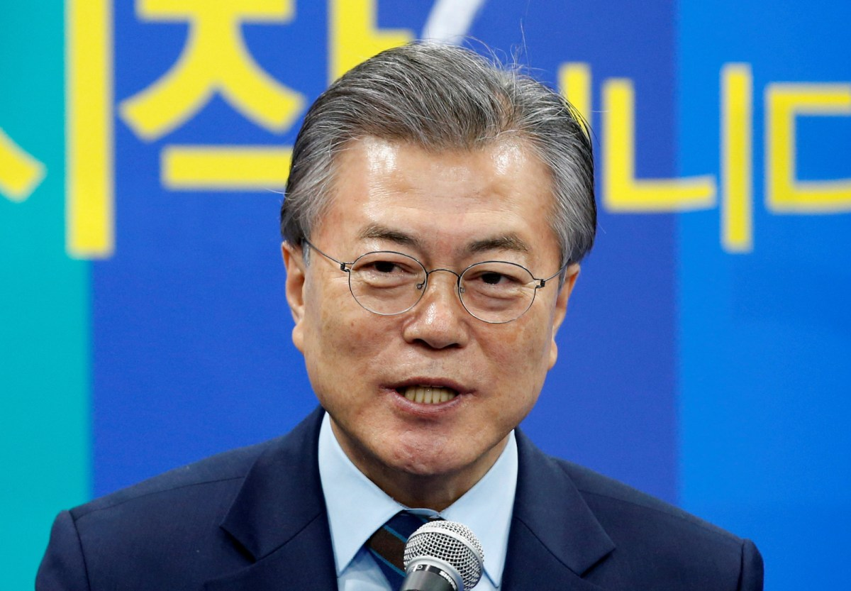 Moon Jae-in, who may be South Korea's next president, appears in Seoul on March 14, 2017. Photo: Reuters/Kim Kyung-Hoon