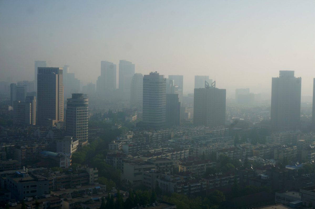 Buildings are seen during a moderately polluted day in Nanjing, Jiangsu Province. Photo: Reuters