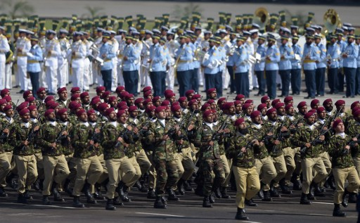 Pakistani troops from the Special Services Group (SSG) march during a Pakistan Day military parade in Islamabad on March 23, 2017. Photo: AFP, Aamir Qureshi