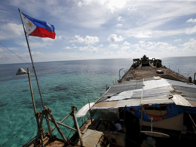 A Philippine flag flutters from BRP Sierra Madre, a dilapidated navy ship that has been aground since 1999 and is now a Philippine military detachment on the disputed Second Thomas Shoal, part of the Spratly Islands, in the South China Sea. Photo: Reuters/Erik De Castro