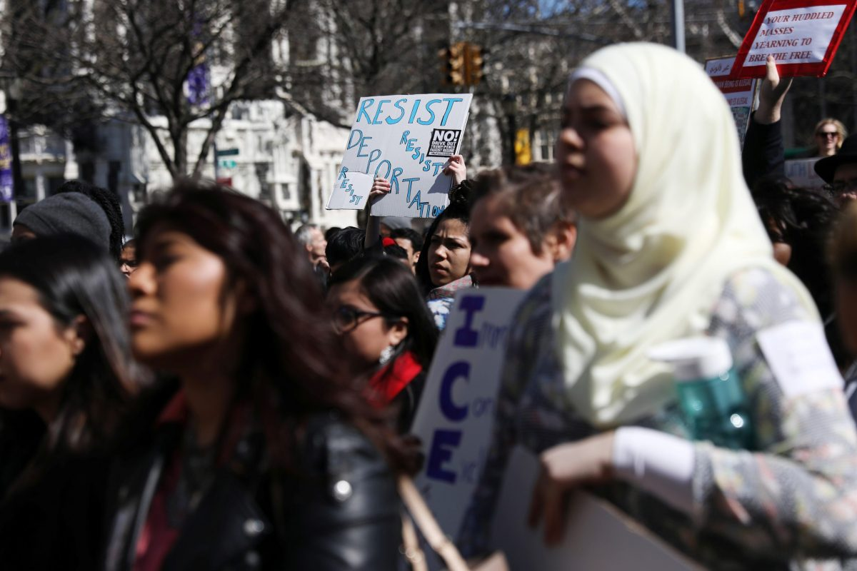 Protesters gather at the City College of New York (CCNY) to denounce the US government's immigration and deportation policies. Photo: Reuters