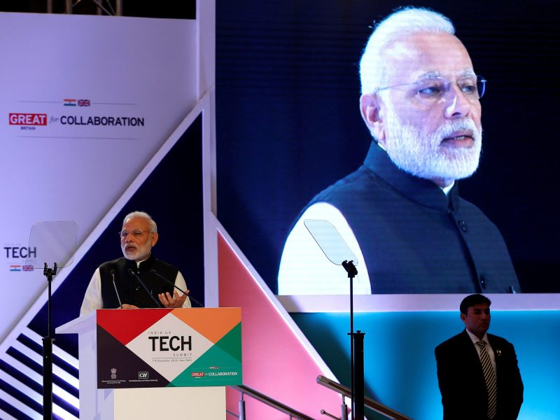 Indian Prime Minister Narendra Modi addresses a gathering during the India-UK Tech Summit in New Delhi, India, November 7, 2016. Photo: Reuters / Adnan Abidi