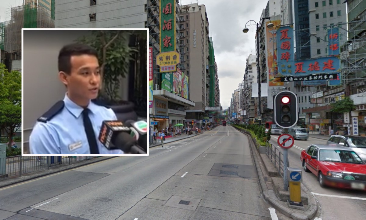 Police Constable Niraj Gurung (inset) speaks in a media briefing regarding Yau Ma Tei operation Thursday. Photo: Google Maps, Facebook/Hong Kong Police