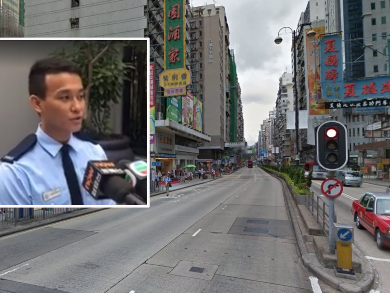 Police Constable Niraj Gurung (inset) speaks in a media briefing regarding Yau Ma Tei operation Thursday. Photo: Google Maps, Facebook/Hong Kong Police