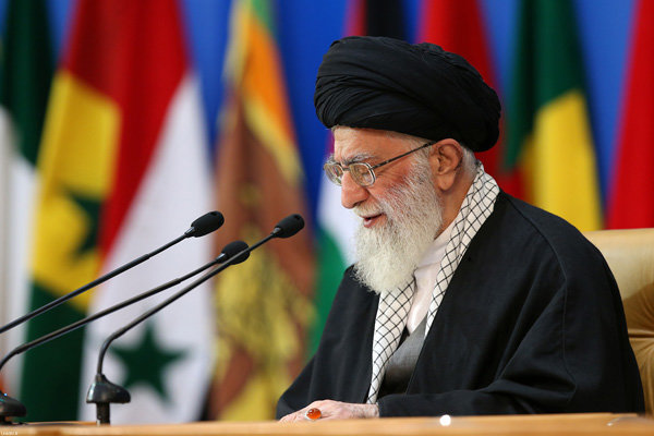 Supreme Leader Ayatollah Khamenei speaking at the international conference on Palestine in Tehran. Photo: Asia Times.