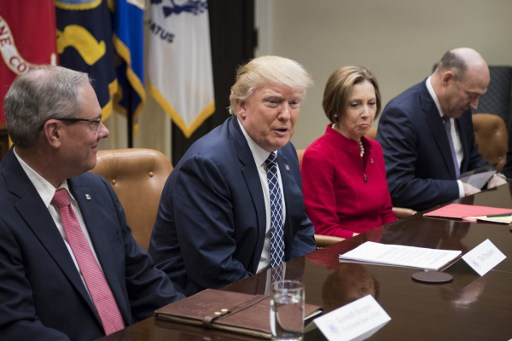 US President Donald Trump speaks during a NEC listening session with CEOs of small and community banks in March. Photo: AFP, Jim Watson