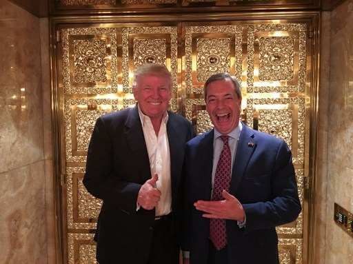 Nigel Farange pose with President Trump. Photo: AFP, Andy Wigmore