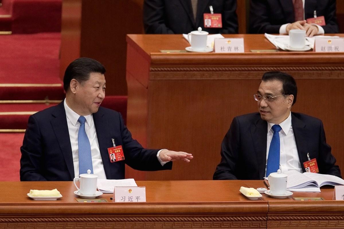 Xi Jinping and Chinese Premier Li Keqiang in March.  ChinaAFP/Nicolas Asfouri