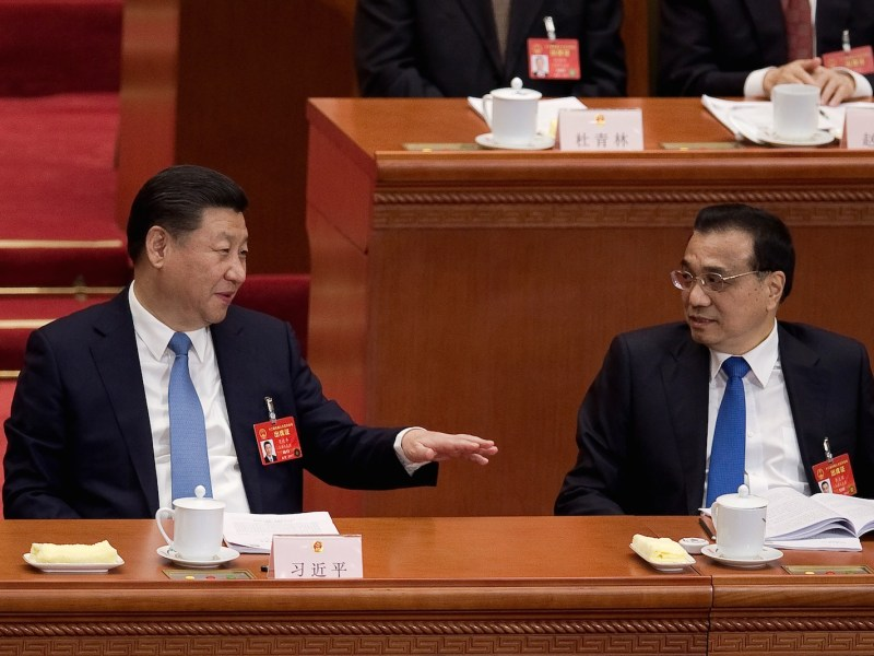 Xi Jinping and Chinese Premier Li Keqiang in March.  ChinaAFP/Nicolas Asfouri