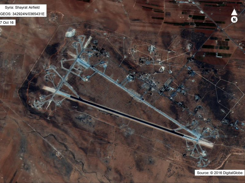 Shayrat Airfield in Homs, Syria, is seen in this satellite image after US forces conducted a cruise missile strike against the Syrian Air Force airfield. Photo: DigitalGlobe courtesy of US Department of Defense via Reuters
