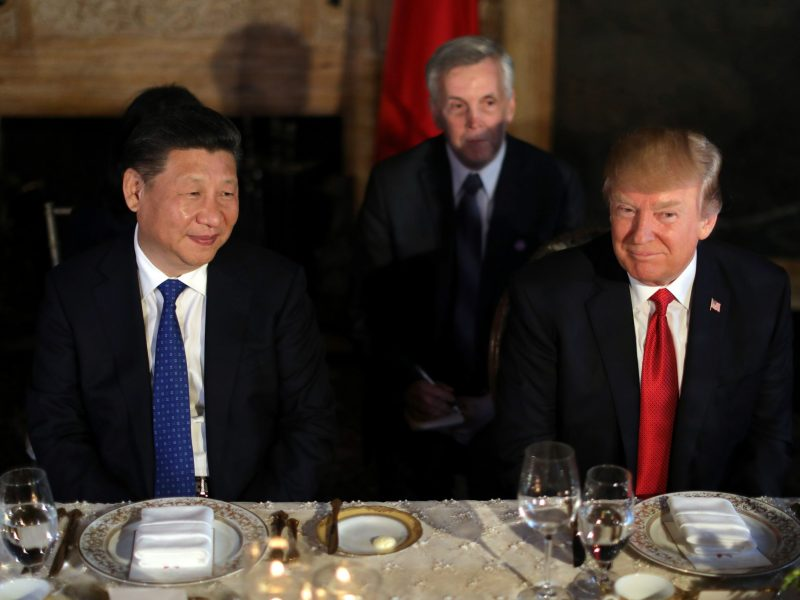 Xi and Trump attend a dinner at the start of their summit at Trump's Mar-a-Lago estate. Photo: Reuters / Carlos Barria