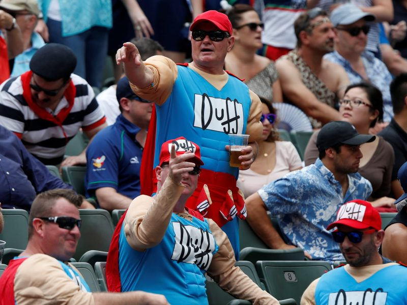 Sevens fans also love their Duff brew. Photo: Reuters/Bobby Yip