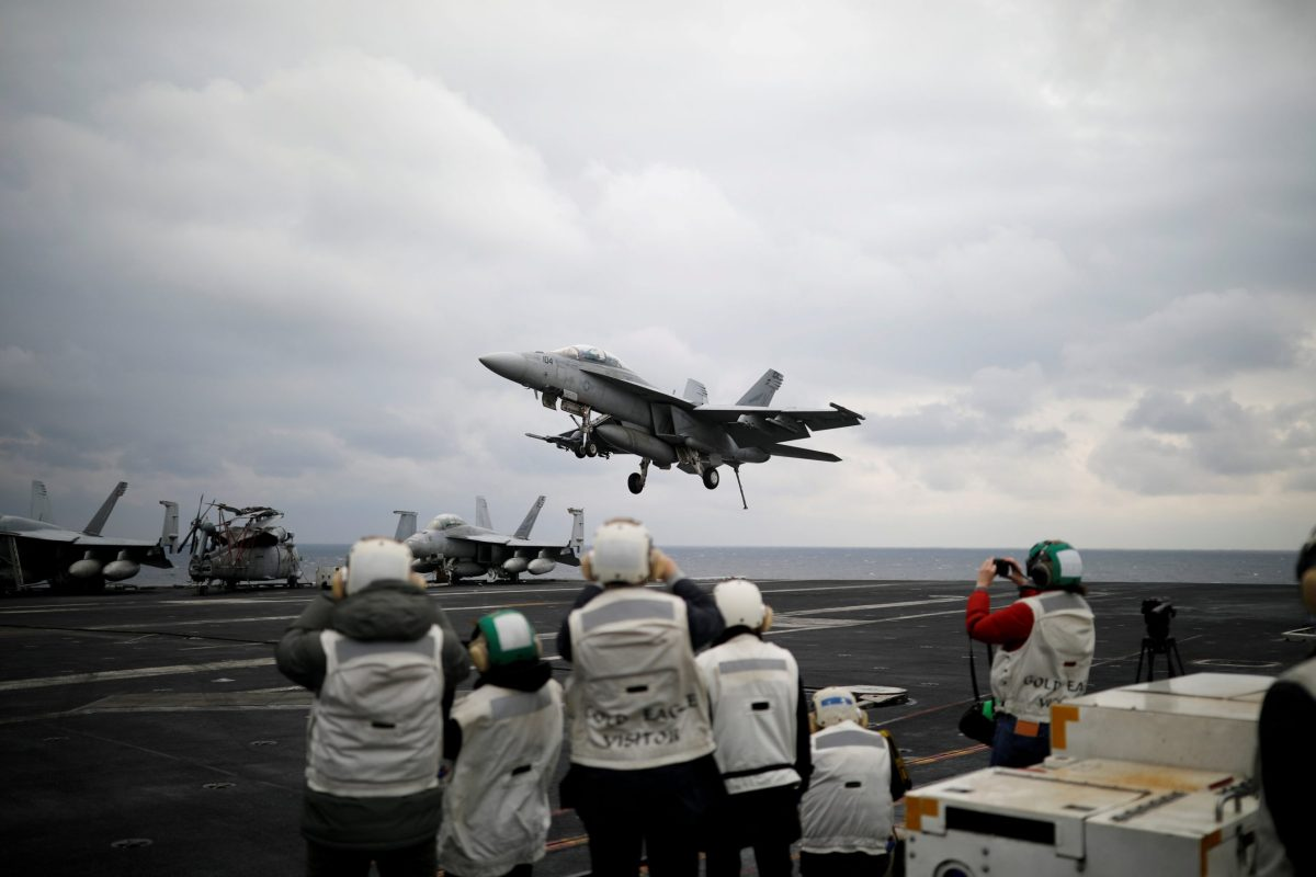 Coming Kim's way... Trump adds to his Syria message by diverting the USS Carl Vinson strike group toward North Korea. Photo: Reuters