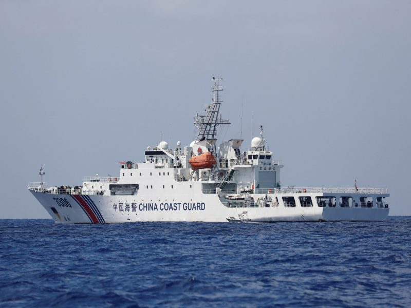 A China Coast Guard vessel patrols the disputed Scarborough Shoal. Photo: Reuters/Erik De Castro