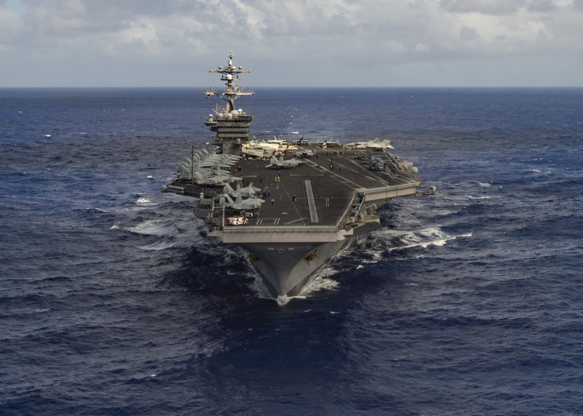 Aircraft carrier USS Carl Vinson transits the Pacific Ocean. Photo: US Navy/Tom Tonthat handout via Reuters