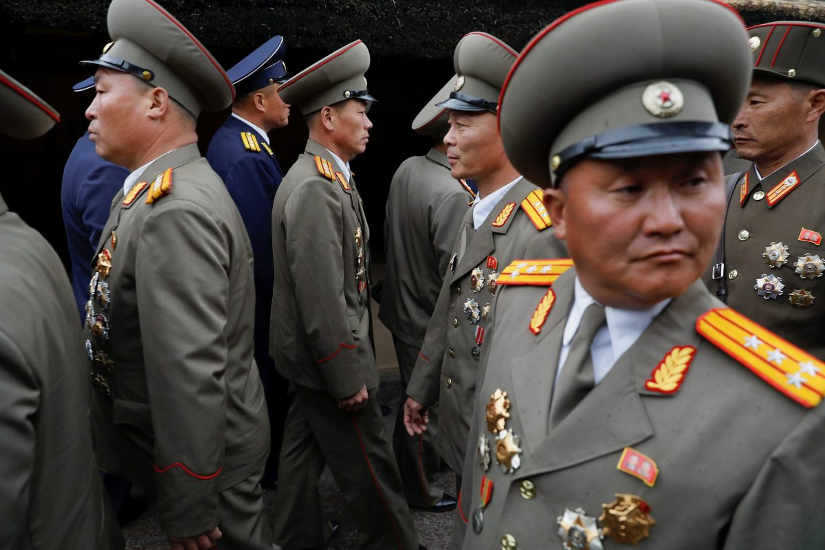 Military officers visit the birthplace of North Korean founder Kim Il Sung, a day before the 105th anniversary of his birth in Mangyongdae outside Pyongyang, North Korea April 14, 2017. Reuters/Damir Sagolj