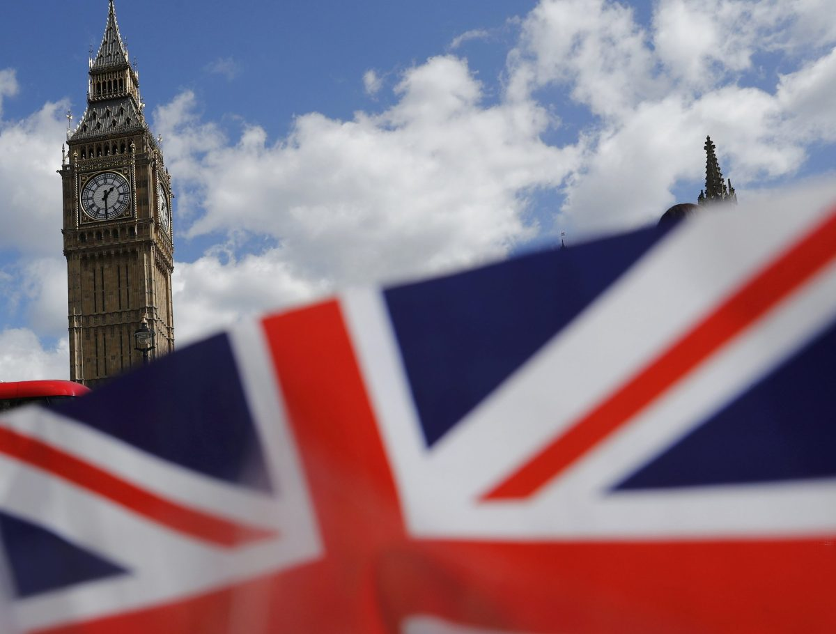 A union flag is seen near the Houses of Parliament in London. Photo: Reutrers/Stefan Wermuth