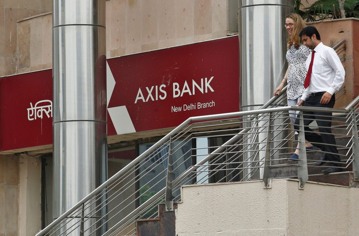 A branch office of Axis Bank in New Delhi. Photo: Reuters