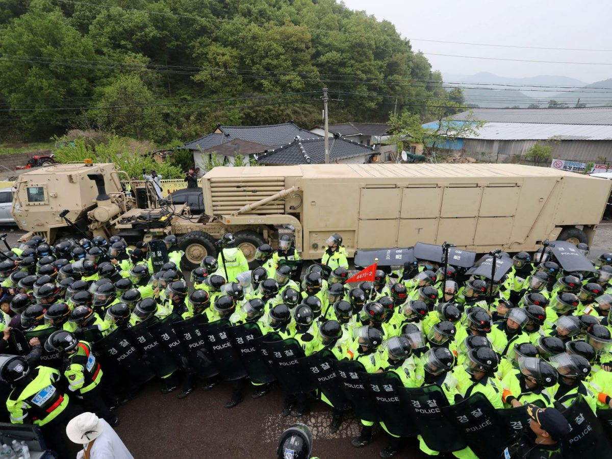 A US military vehicle which is a part of the Terminal High Altitude Area Defense (THAAD) system arrives in Seongju. Photo: Kim Jun-beom/Yonhap via Reuters