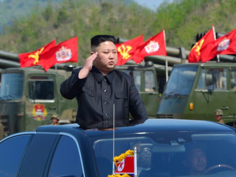 North Korean leader Kim Jong-un salutes his troops. Photo: Reuters via KCNA