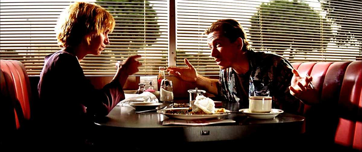 """""""I love you, Pumpkin. I love you, Honey Bunny."""" Amanda Plummer and Tim Roth star as the restaurant-robbing lovers in Quentin Tarantino's Pulp Fiction"""