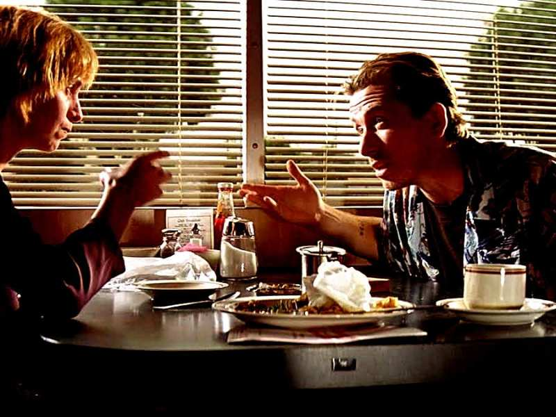 """I love you, Pumpkin. I love you, Honey Bunny."" Amanda Plummer and Tim Roth star as the restaurant-robbing lovers in Quentin Tarantino's Pulp Fiction"